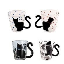 Creative Cute Cat Glass Mug Tea Milk Coffee Music/Dots/English Words Cup