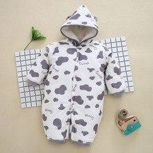 купить New 0-12M Baby Rompers Winter Warm Cotton Clothing Set for Boys Cartoon Dot Infant Girls Clothes Newborn Overalls Baby Jumpsuit по цене 1253.3 рублей