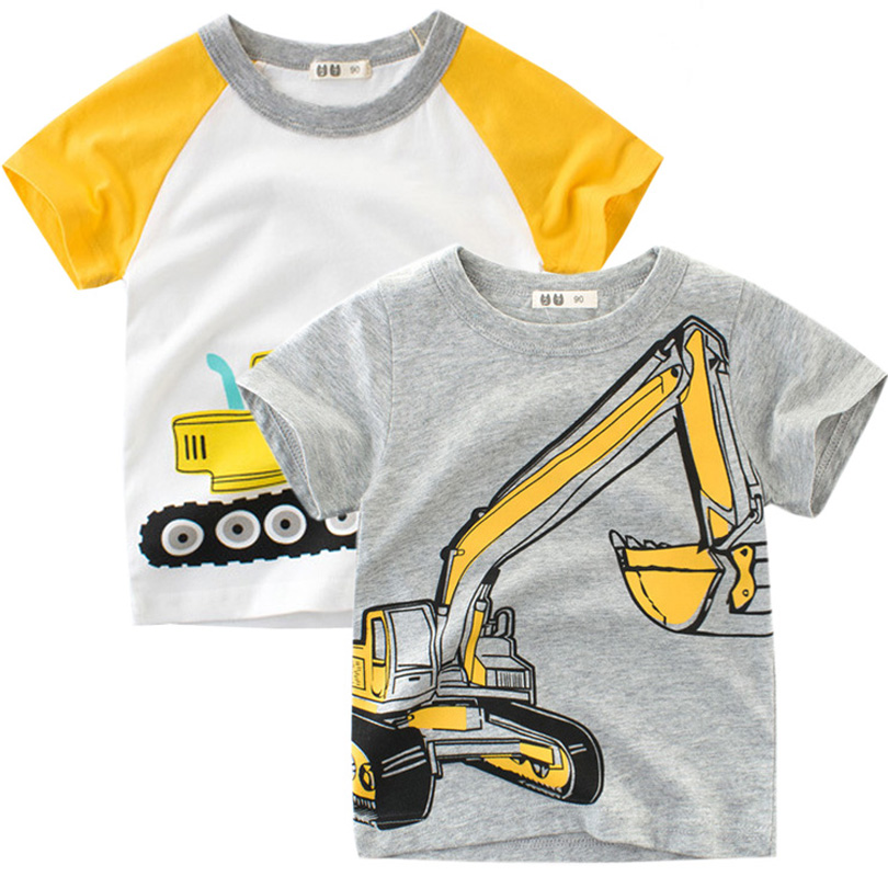 2019 Baby Clothes Summer Top Baby Boy T-shirt Excavator Embroidery Gray Short Sleeve Boys T Shirt Pure Cotton Kids Clothes 0-10Y(China)