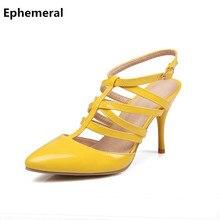 Señoras stilettos bombas recortes de cuero suave correa cruzada mujeres damen sandalias de gladiador de tacón alto del dedo del pie puntiagudo plus size 41 44 48