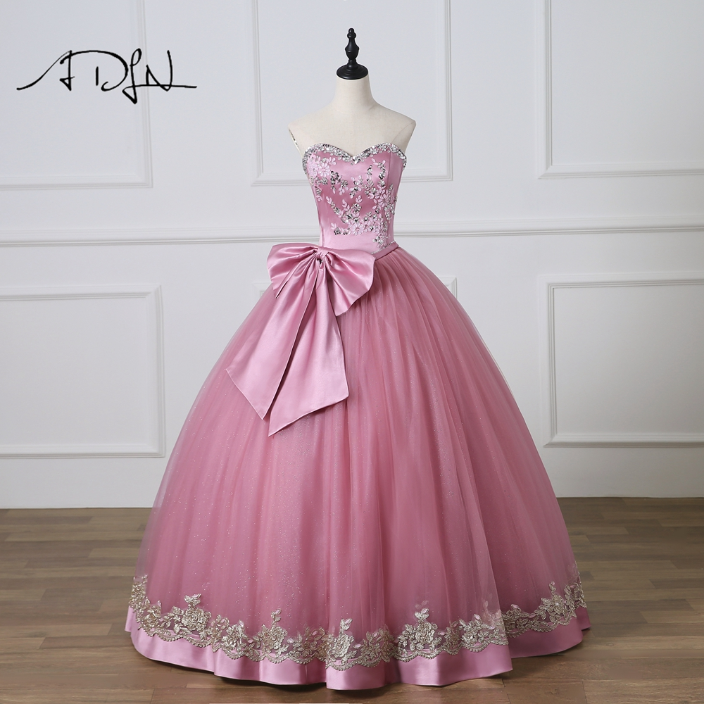ADLN  New Sweetheart Sleeveless Ball Gown Quinceanera Dresses Custom Made Sweet 16 Dress with Bow Debutante Gown