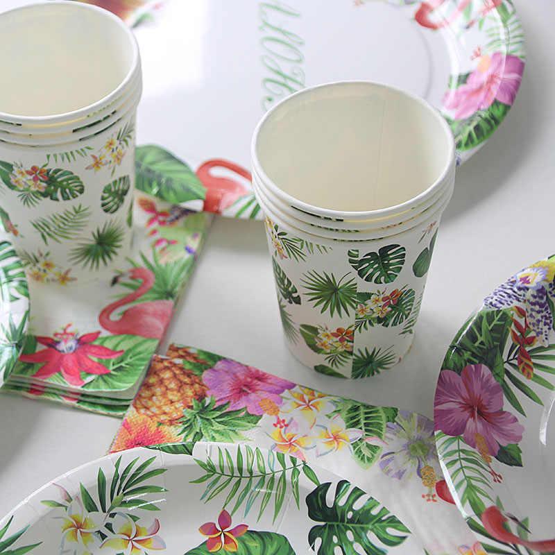 فلامنغو ألوها أدوات مائدة ورقية هاواي الاطفال الغابة حفلة عيد 1st عيد ميلاد لوازم الزهور يترك لوحة كأس بالونات جارلاند