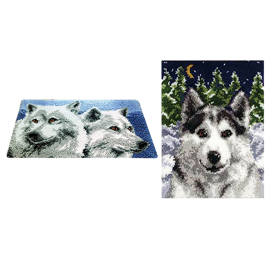 Us 48 51 18 Off 2 Sets Wolf Diy Latch Hook Kits Embroidery Needlework Supplies For Rug Cushions Blankets Carpet Tapestry In Latch Hook From Home