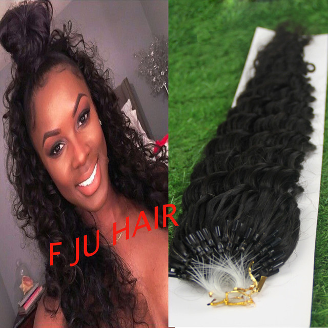 Natural Curly Micro Bead Hair Extensions Micro Link Hair Extensions