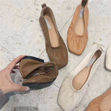 2019 New Women Shallow Flats Comfort Soft Slip On Lazy Single shoes Square Head PU Leather Grandma Casual Outdoor