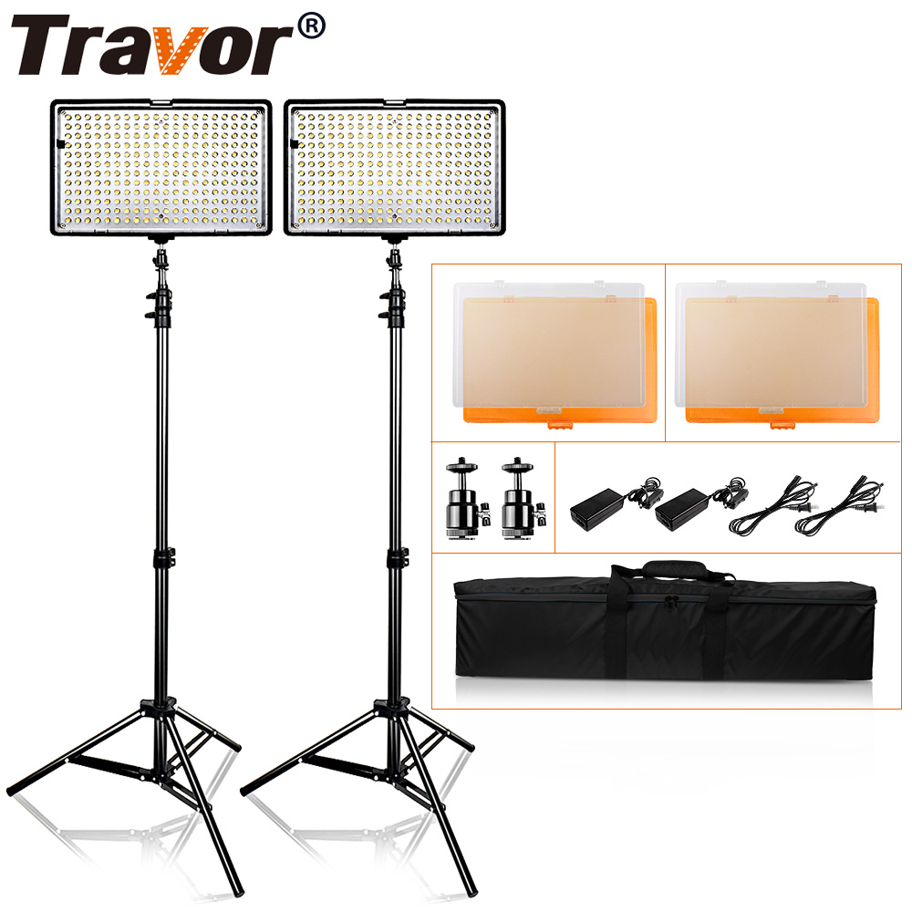 Travor TL-240S LED Studio camera Lighting Kit Dimmable Ultra High Power Panel Digital Camera DSLR Camcorder with light stand travor 2 in 1 photography 160 led studio lighting kit dimmable ultra high power panel digital camera dslr camcorder led light