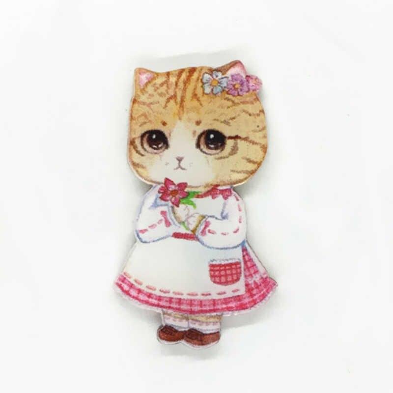 LNRRABC Busana Kartun Kucing Hewan Enamel Bros Untuk Wanita Anak Bros Perhiasan DIY Jilbab Pin Kerah Pakaian Ornamen