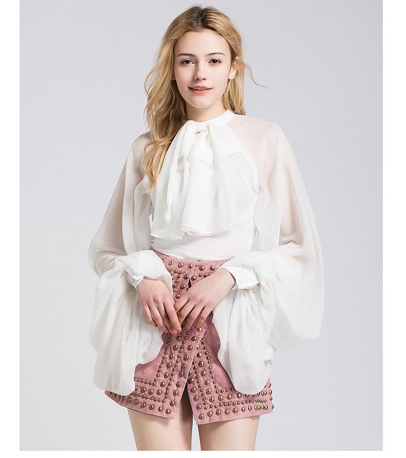 Cravate Dehors Femmes Shirts D'été Sexy Sipaiya Blouses blanc Pour Creusent En Manches Porter Perspective Qualité Mousseline Noir Haute Arc De Lanterne Soie Lady Parti Xnv7af