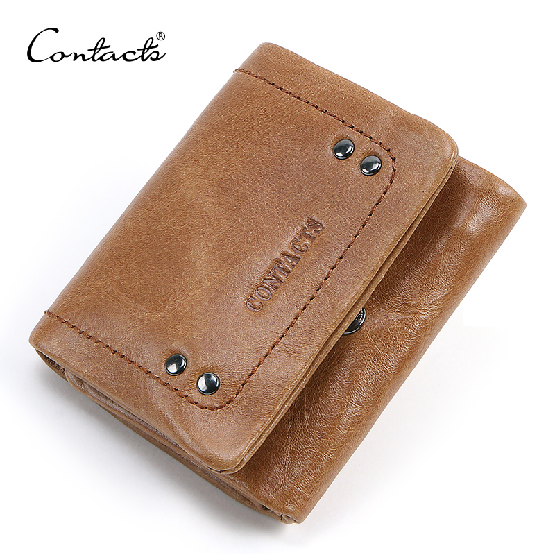 CONTACT'S Genuine Leather Wallet Men Hasp Design Short Wallets Male Coin Purse Small Man's Walet Card Holder Cuzdan High Quality