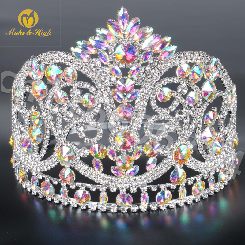 Miss Beauty Pageant Tiara and Crown Clear Crystals Brides Full Circle Prom Party Costumes Wedding Crowns Bridal Hair Accessory