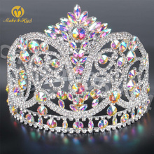 Miss Beauty Pageant Tiara and Crown Clear Crystals Brides Full Circle Prom Party Costumes Wedding Crowns Bridal Hair Accessory wedding bridal tiara crown clear zircon crystal rhinestones women brides diadem pageant party