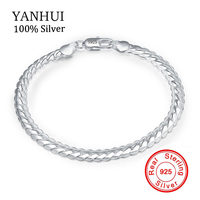 YANHUI Men Silver Bracelet Fine Jewelry Original Solid 925 Sterling Silver Bangle Bracelet Have S925 Stamp