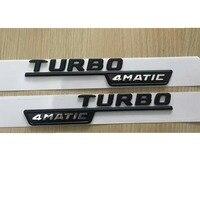 Flat Black TURBO 4MATIC Plastic Car Trunk Fender Letters Badge Emblem Emblems Decal Sticker for Mercedes Benz AMG 17 19