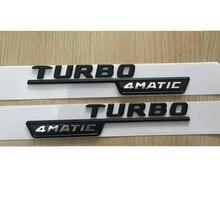 "Plano negro ""TURBO 4 MATIC"" de plástico del coche de maletero Fender cartas insignia emblema emblemas etiqueta engomada etiqueta para Mercedes Benz AMG 17-19"