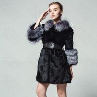 Новая модель реального кролика пальто с мехом лисы перо воротник поясом Fox манжеты большой размер русской зимы Модные женские теплые карман