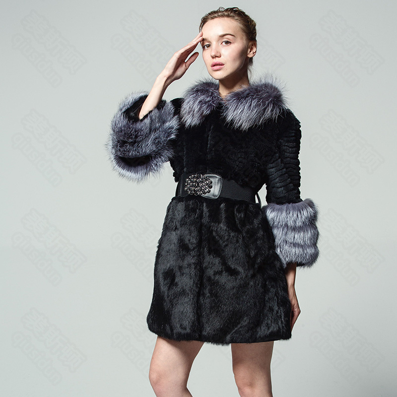 New pattern Real Rabbit fur coat Fox feather collar Belted Fox cuff Large size winter Russia Woman fashion Warm Pockets 5XL coat