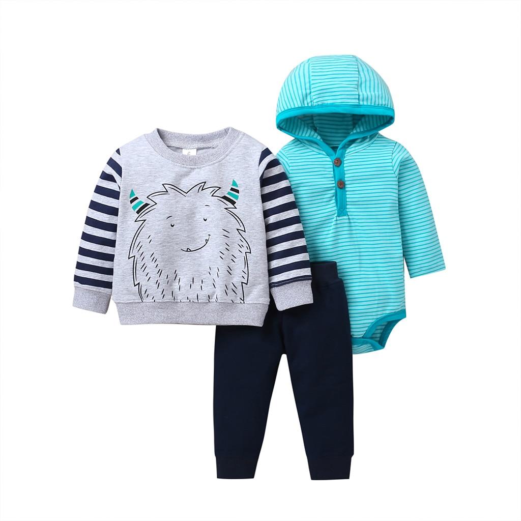 baby boy set 2019 autumn outfit long sleeve clothes cartoon monster Sweater+hood bodysuit stripe+pant 3PCS clothing newborn