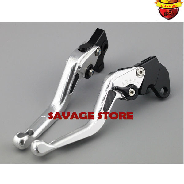 For YAMAHA MT-07 FZ-07 MT-09 FZ-09 FJ-09 2014-2015 Silver Motorcycle 3D Short Brake Clutch Levers Carbon Fiber Inlay for yamaha r1 r6 fz zuma motorcycle cruiser freeshipping silver carbon fiber rearview mirrors