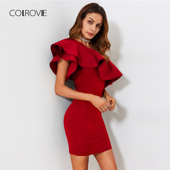 COLROVIE Red Ruffle Flounce One Shoulder Form Fitting Bodycon Summer Dress Slim Solid Women Dress Stretchy Party Dress 1