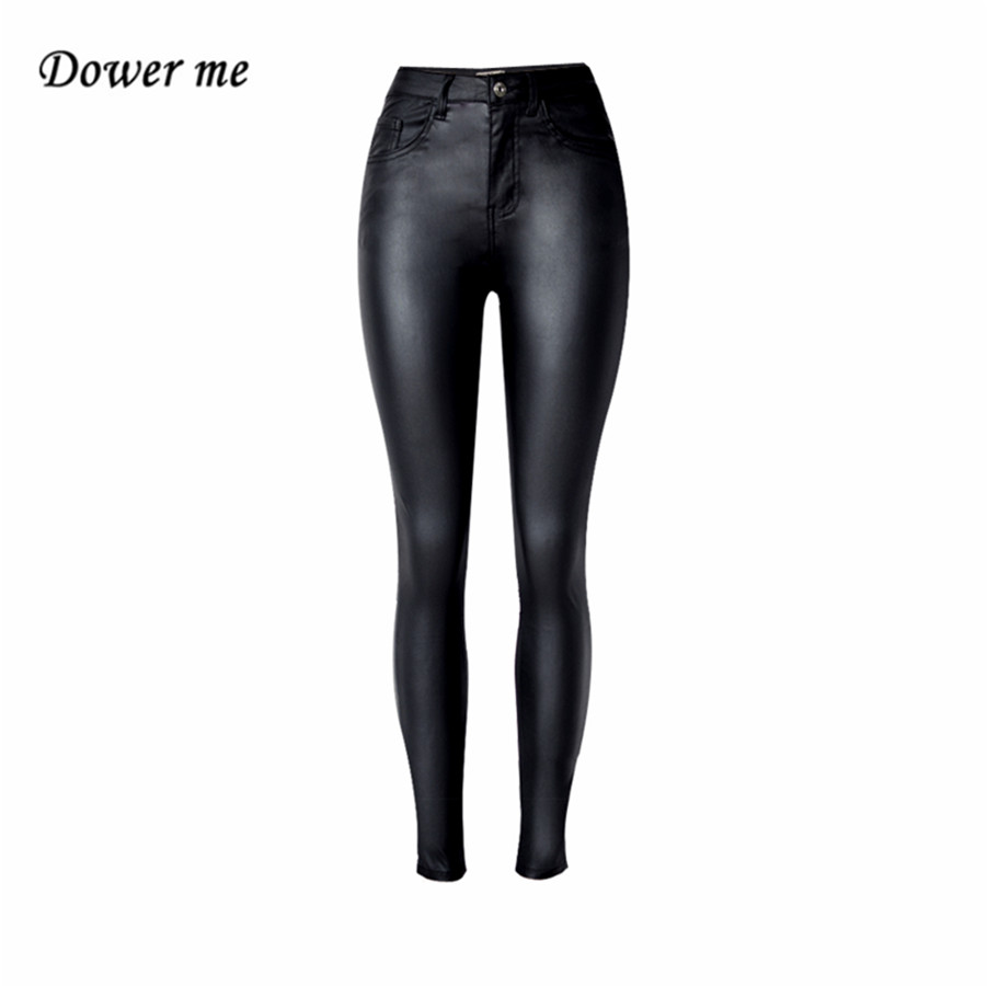 Fashion Women's Solid Black High-waist Elastic Pencil Pants Sexy Tight PU Coating Imitate Leather Trousers YN291