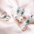 Cristal verde Natural de Agua Dulce Perla Conjuntos de Joyas Para Las Mujeres Pluma de La Manera del Oro Blanco Plateó el Collar + Pendientes + Anillo