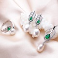 Green Crystal Natural Freshwater Pearl Jewelry Sets For Women Fashion Feather White Gold Plated Necklace+Earrings+Ring