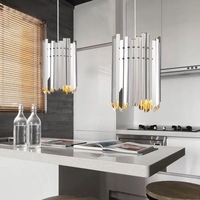 Modern Stainless Steel Restaurant Led Pendant Lamp Silver/Gold Body Foyer Coffee Shop Bedroom Hanging Lights Fixtures Loft Deco