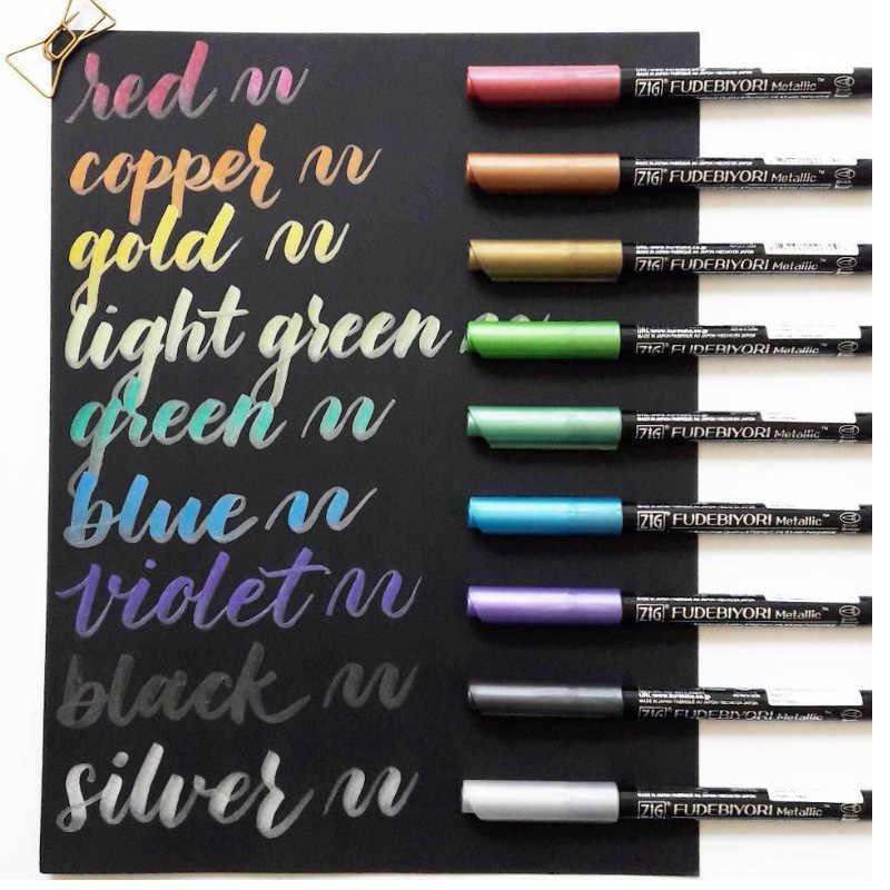 ZIG Kuretake FUDEBIYORI stylos à pinceaux en métal doux stylos à marqueur aquarelle peinture stylos à lettrage japonais 57 couleurs