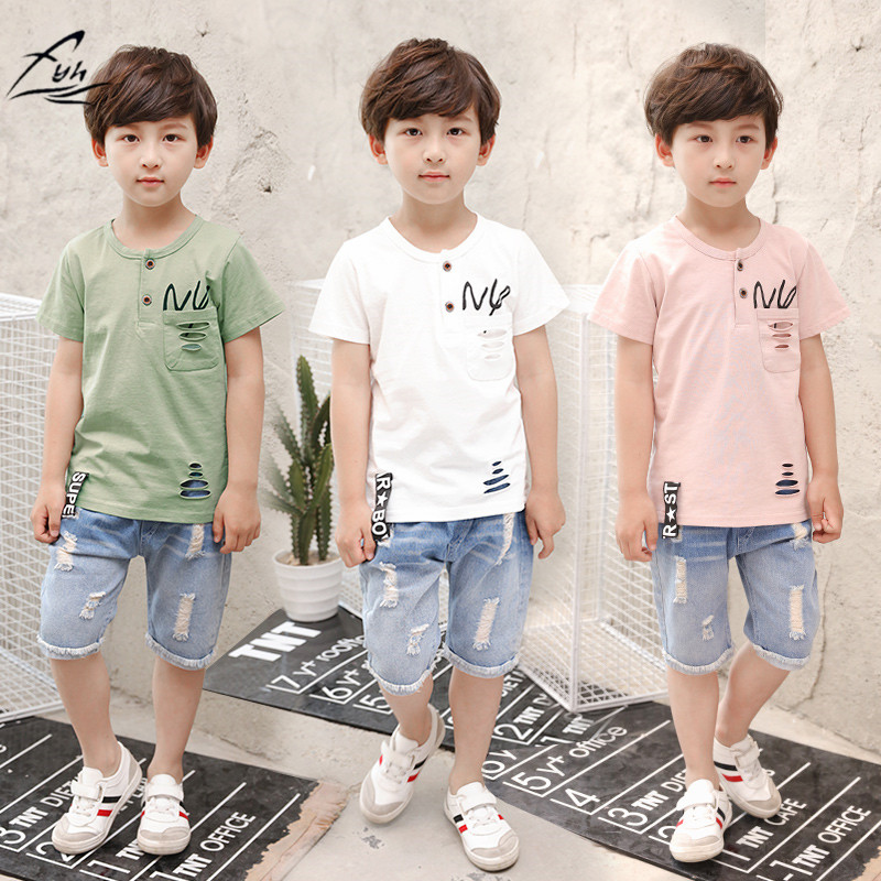 FYH Kids Clothing Boys Summer Suit Baby boys Clothing Sets Children Cotton T-shirt + Denim Shorts 2 Pieces Short Sleeved Set european and american style brand children s clothing children summer cotton short sleeved t shirt baby girls t shirt 50158