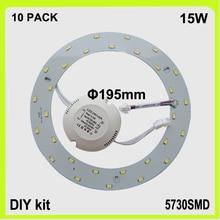 DIY install 10 PACK 15W LED circular tube led panel PCB round LED down light luminaries lampara 120v 220V 230V 240V