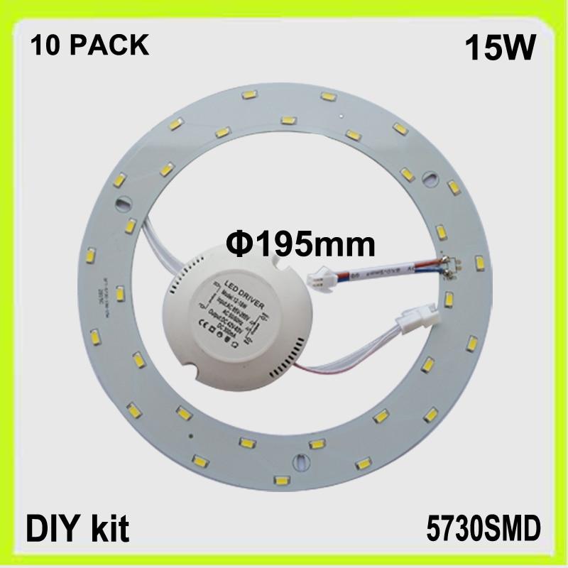 DIY nainstalovat 10 PACK 15W LED kruhové trubice led panel PCB kulaté LED dolů světlo svítidla lampara 120v 220V 230V 240V