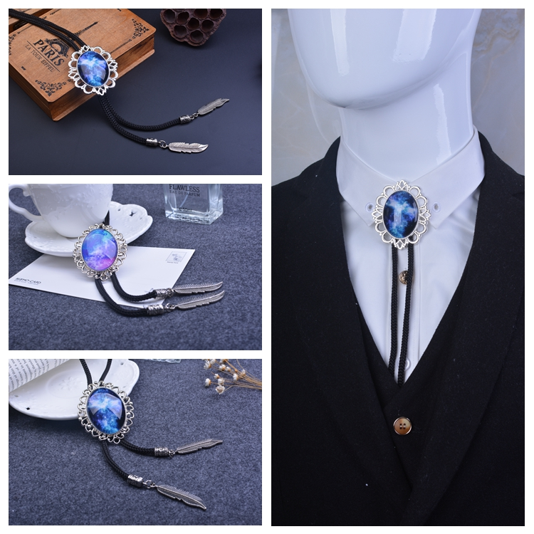 Handmade Neckwear Sky Star Ocean Bolo Ties For Men Style Bolo Ties Round Circle Vintage Royal Blue Bolo Tie