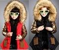 Дети-подростки ребенок верхняя одежда зима хлопка с длинным пальто куртки детская Одежда для девочек 9 10 12 лет теплый с Меховым капюшоном воротник