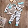 Lo nuevo Recién Nacido Bebé Girls Boy Deer Tops T-shirt Pantalones Leggings Sombrero 3 unids Trajes Set ropa De Navidad para niños de la gota nave