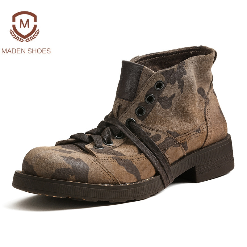 Maden 2018 Spring Camouflage Military Boots High Quality Men Ankle Boots Cow Suede Martin Boots Vintage High Top Tooling Boots high quality trumpf style press brake tooling special tooling bending dies