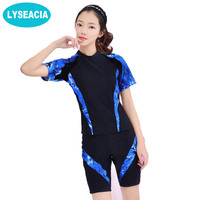 LYSEACIA 2017 Swimsuit Women Beach Tankini Set Large Size Short Sleeve Shirt Swimwear Female Swimming Boxer Shorts Bathing Suit