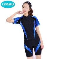 M 4XL 2019 Swimsuit Women Beach Wear Tankini Large Size Short Sleeve Shirt Swimwear Female Swimming Boxer Shorts Bathing Suit