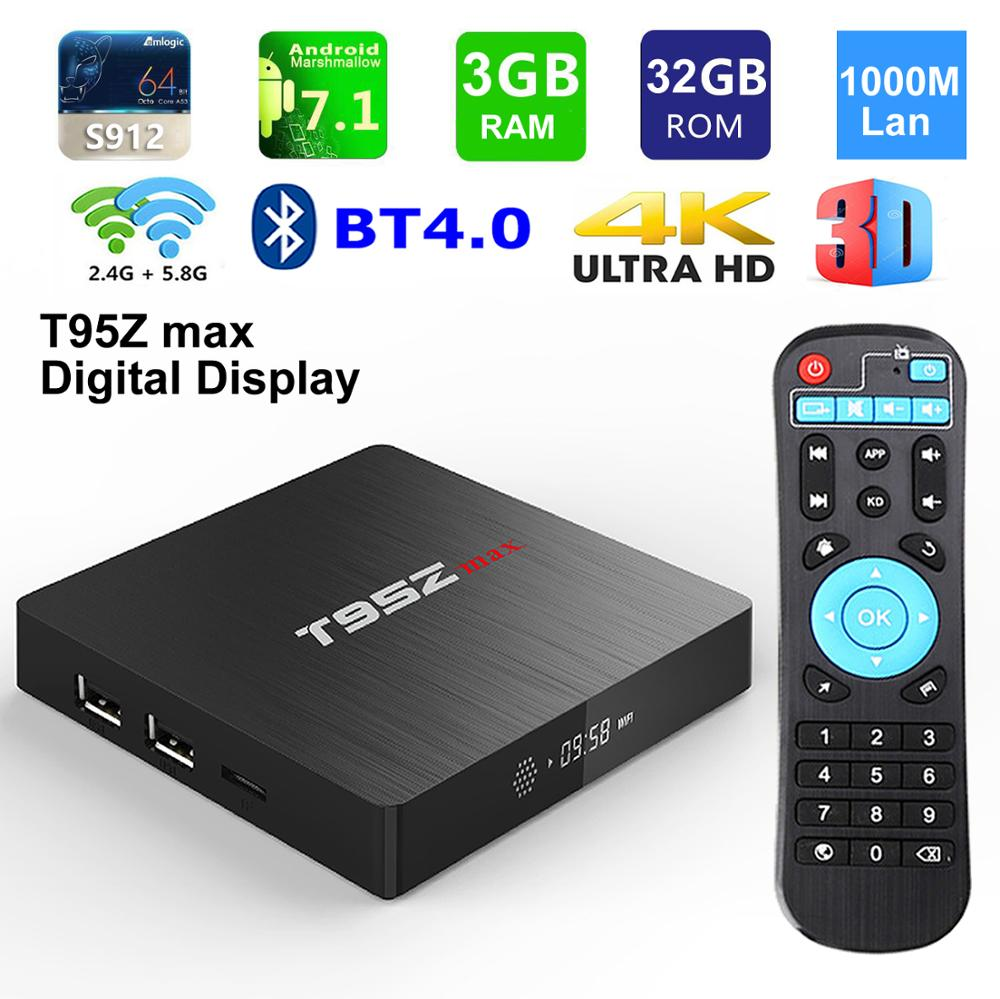 T95Z Max Smart TV BOX Amlogic S912 Octa Core 3GB 32GB BT4.0 2.4G 5G double WIFI 1000M Lan Android 7.1 3D 4K HDR décodeur