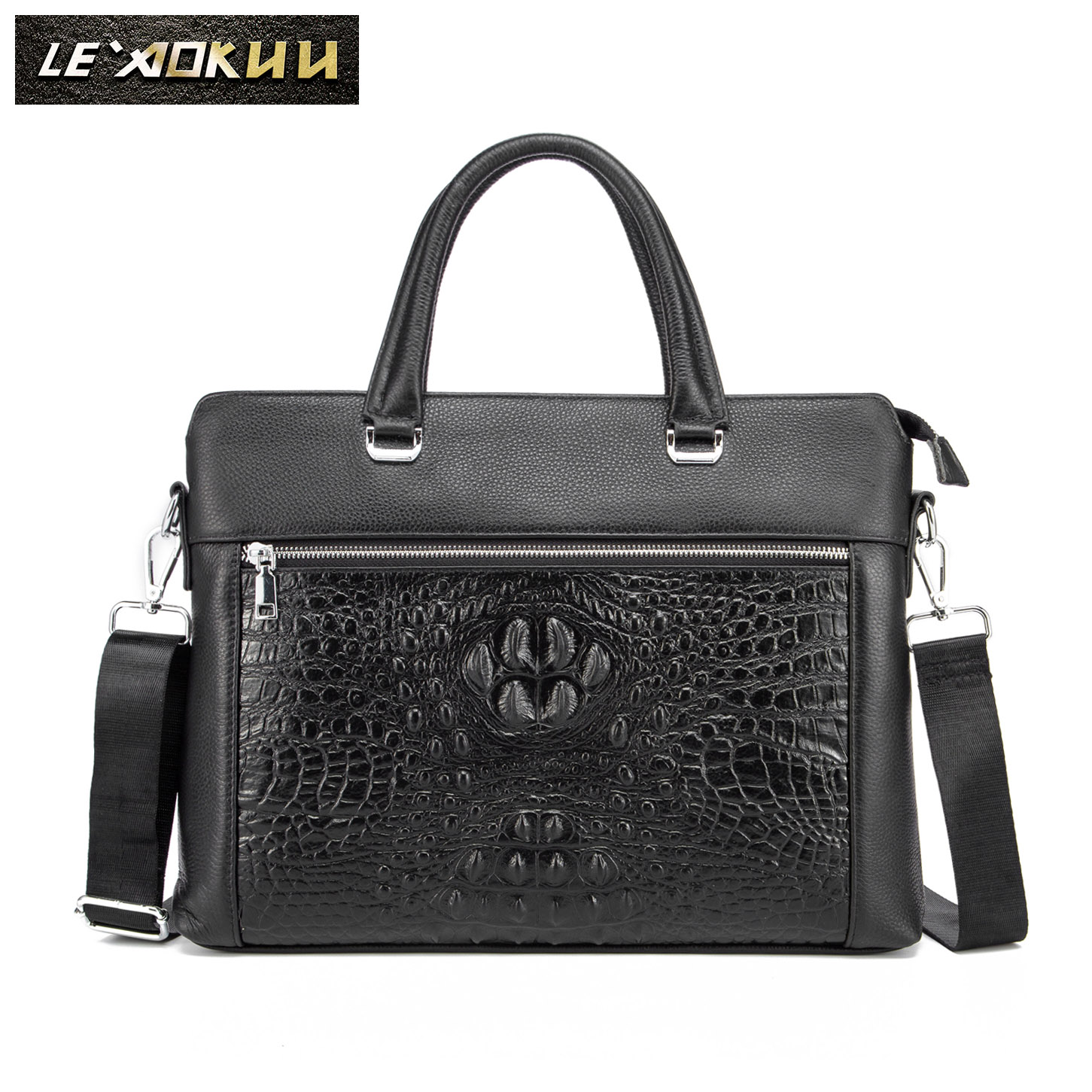 Original Leather Black Fashion Design Men Briefcase Business 15
