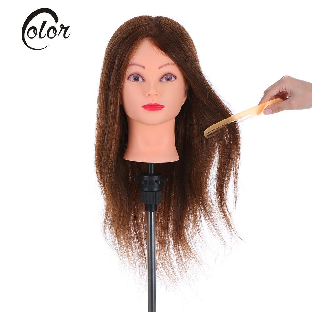 24 Real Human Hair Hairdressing Training Head + Clamp Salon Hair Cutting Braiding Practice Dummy Head Women Mannequin Head Tool