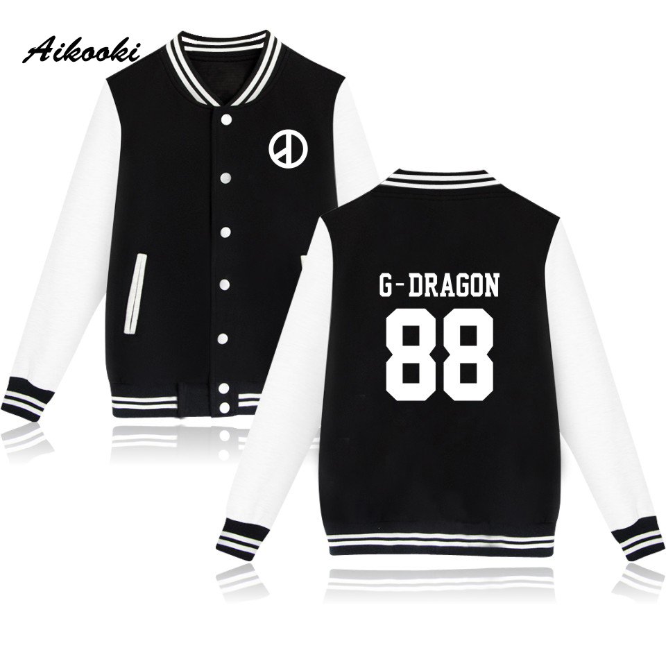 Aikooki BTS Kpop Baseball Sweatshirt Women T.O.P GD G-dragon Capless Winter Warm Hoodies Men Casual Fashion Jacket Clothes 3xl