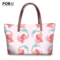 FORUDESIGNS Cross Body Bags Women Cartoon Cute Animal Elephant Pattern Female Fashion Tote Shoulder Bags Handbag Messenger Bags