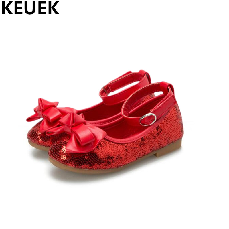 Detail Feedback Questions about New Fashion Butterfly knot Flats Baby Hook    Loop Toddler Bowtie Glitter Leather Shoes Girls Children Red Dress Shoes  Kids ... 51e45527dbb4