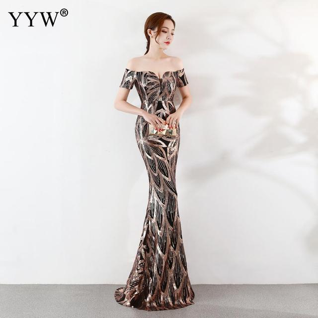 Luxe paillettes florale élégante robe de soirée 2019 Sexy épaules nues sirène robe femmes Vintage dos nu fête formelle longue robe