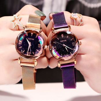 Femmes de luxe montres mode élégant aimant boucle Vibrato violet dames montre-bracelet 2019 nouveau ciel étoilé chiffre romain cadeau horloge