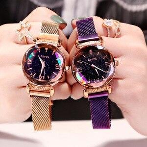 Image 3 - Женские наручные часы, роскошные часы из розового золота с магнитной застежкой и браслетом звездного неба, 2019