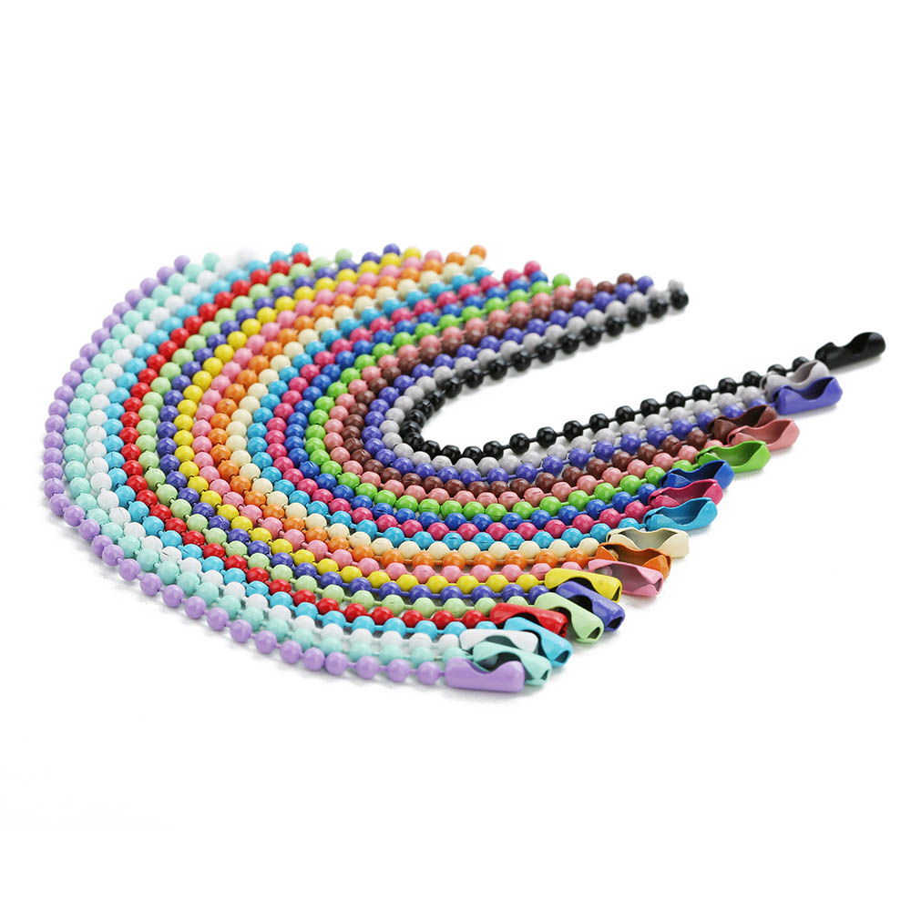 1 Pack Multicolors 2.4mm Round Ball Bead Chains 12cm Length Dog Tag Bulk Chains With Connector For DIY Necklace Jewelry Making
