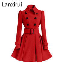 Women Trench Coat Winter Belt Buckle TrenchCoat Double-Breasted Vintage Coat Cas