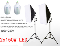300W LED Softbox Lighting Kit 2pcs 150W LED Continuous Lighting Soft box Diffuse White Color LED 2 Light Stand 2 Softbox