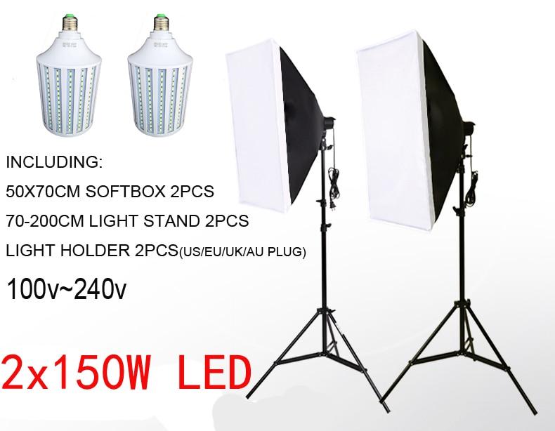 300W LED Softbox Lighting Kit 2pcs 150W LED Continuous Lighting Soft box Diffuse White Color LED 2 Light Stand 2 Softbox